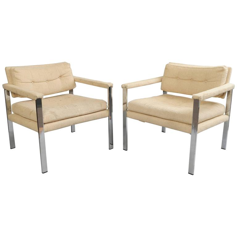 Pair of Chrome Flatbar Club Lounge Chairs after Milo Baughman Mid-Century Modern