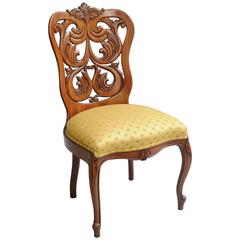 Rococo Revival Victorian Laminated Walnut Scroll Chair Attributed to John Belter