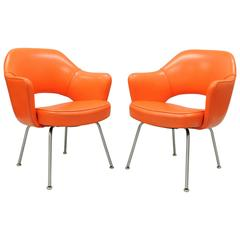 Pair of Eero Saarinen for Knoll Executive Armchairs Early Original Orange Vinyl