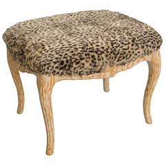 Faux Bois Branch Stool Ottoman Carved Solid Wood Seat Twig Tree Form, Vintage