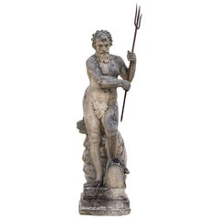 Magnificent North Italian 19th Century Stone Sculpture Figure of God Neptune