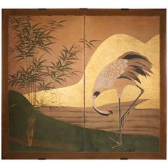 Japanese Screen: Crane by Water's Edge