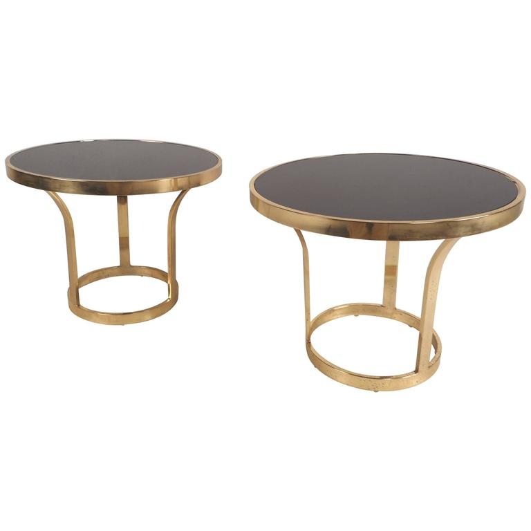 Mid-Century Modern Brass End Tables in the Style of Milo Baughman