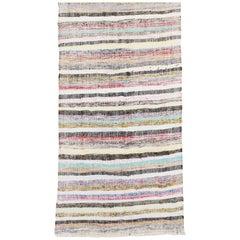 Long Striped Cotton Kilim Runner