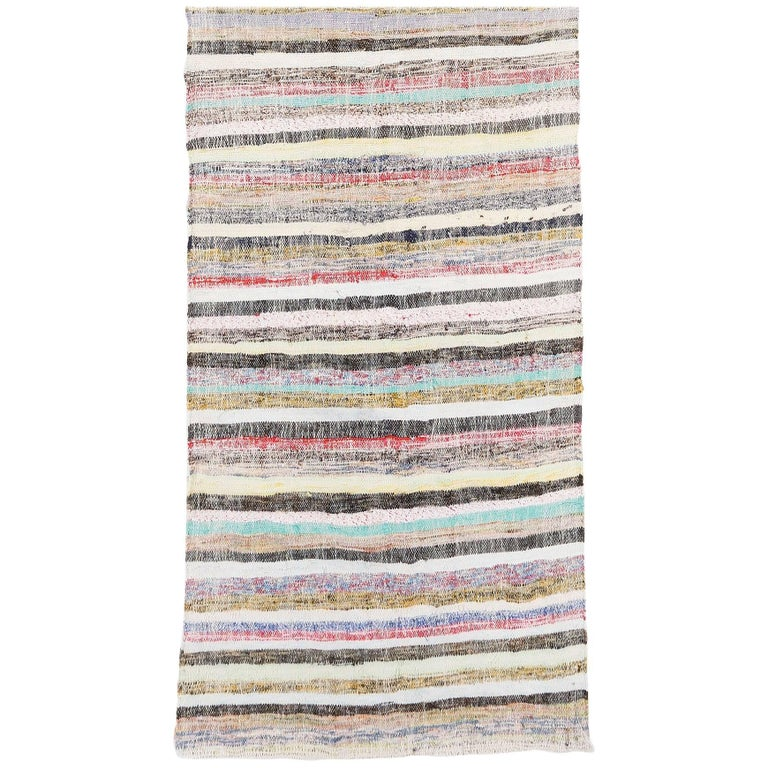 Long Striped Cotton Kilim Runner For Sale