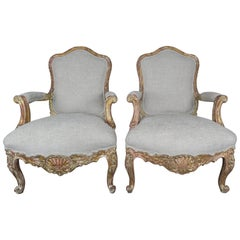 Pair of French Giltwood Armchairs, circa 1930s