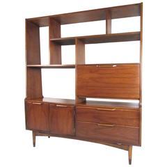 Mid-Century Modern Walnut Bookshelf Room Divider
