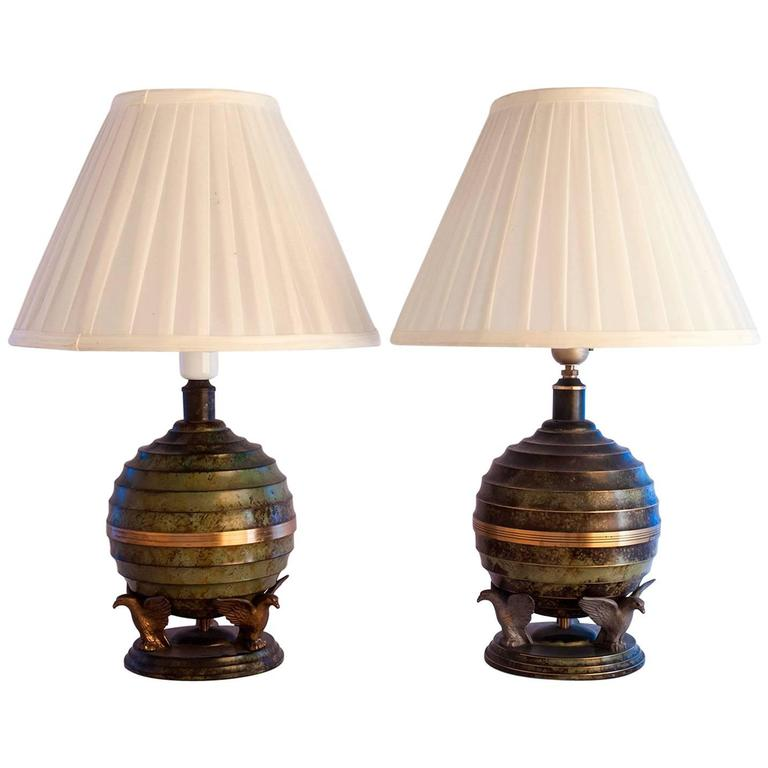 Rare Swedish Grace Art Deco Table Lamps, 1930