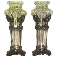 1903 German WMF Jugend Art Nouveau Glass and Silverplated Steel Vases