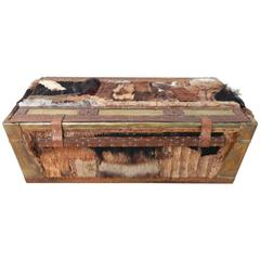 Avant Garde Art Brass Nail Head, Leather and Fur Lined Chest Coffee Table