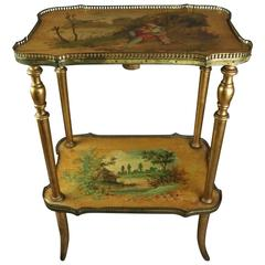 Antique French Hand-Painted Vernis Martin Giltwood and Bronze Two-Tier Stand