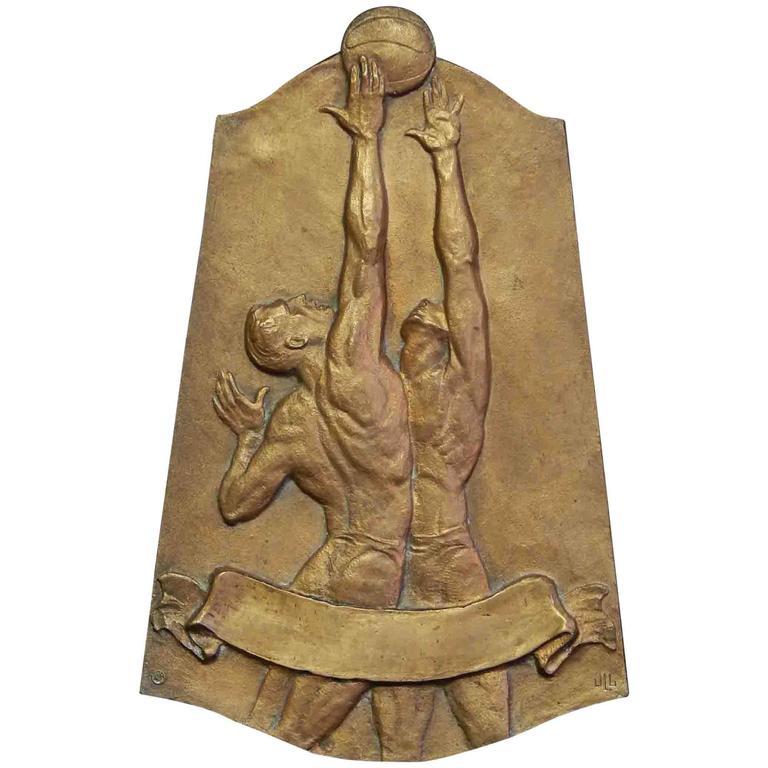 """Jump Shot,"" Model for Art Deco Bronze Basketball Award Plaque, 1940s"