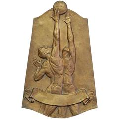 """Jump Shot,"" Model for Art Deco Bronze Basketball Award Plaque, 1940s"