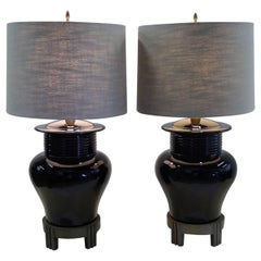 Pair of 1980s Chinese Modern Deco Ceramic Black Ginger Jar Table Lamps