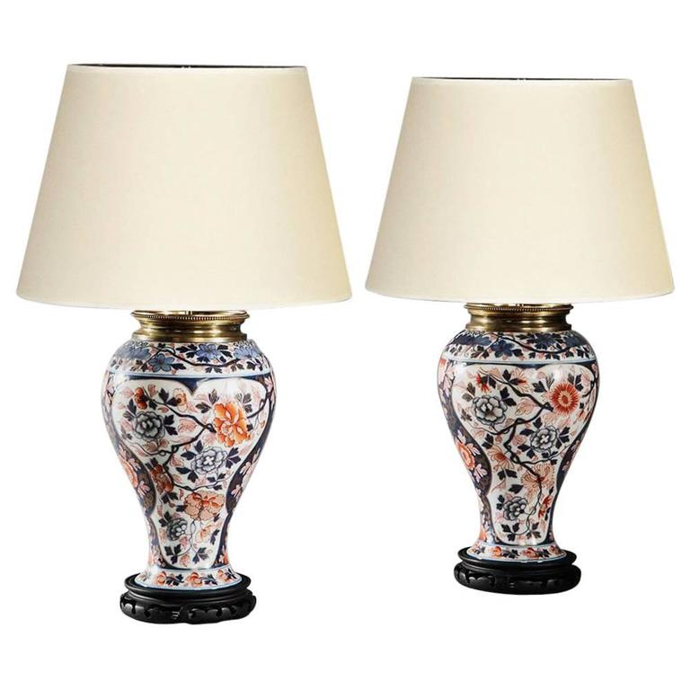 Pair of Imari Pattern Bayeux, Veuve Langlois Porcelain Oil Lamps For Sale