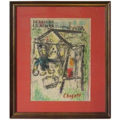"Marc Chagall Derriere Le Miroir Lithograph ""The Artist at the Village"", 1969"