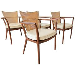 Walnut, Cane and Brass Armchairs by Bert England