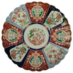 Antique Japanese Imari Porcelain Charger, Foliate Reserves with Phoenix, c1890