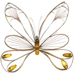 Signed Curtis Jere Brass Butterfly Wall Sculpture