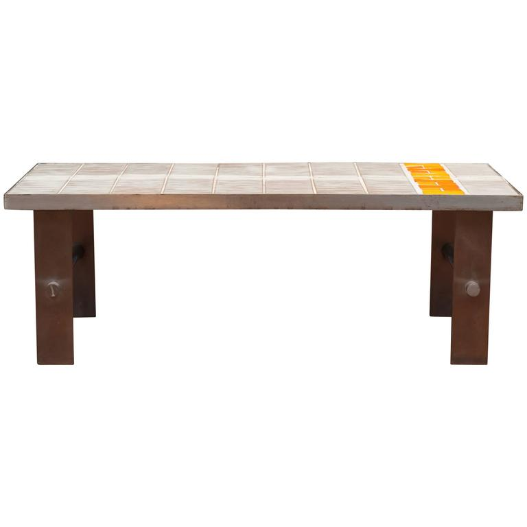 French Tile and Steel Coffee Table For Sale