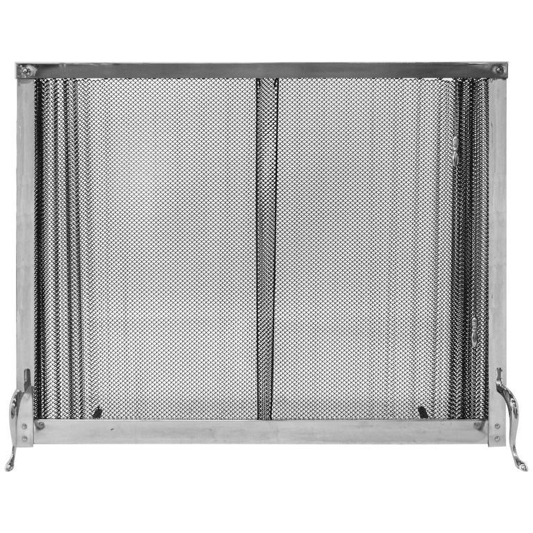 1970s chromed fireplace screen with metal curtain for sale