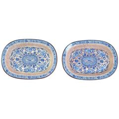 Pair of 19th Century English Blue and White Platters