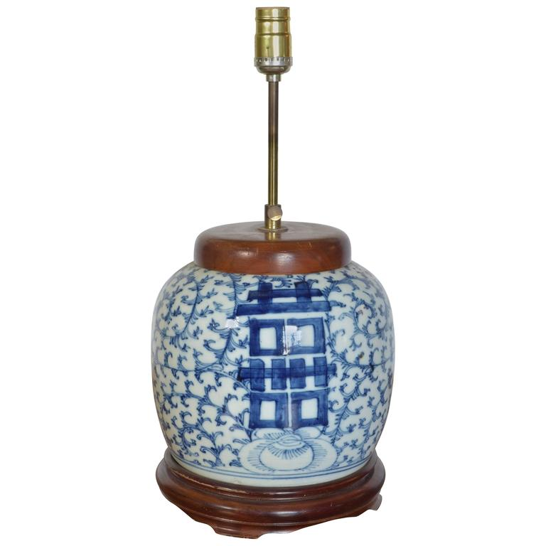 Hand Painted Blue And White Ginger Jar Lamp For Sale At