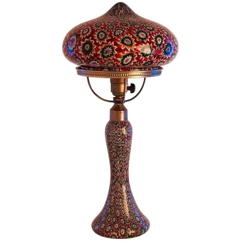 1925 Murano Italian Fratelli Toso Glass Millefiori Table Lamp