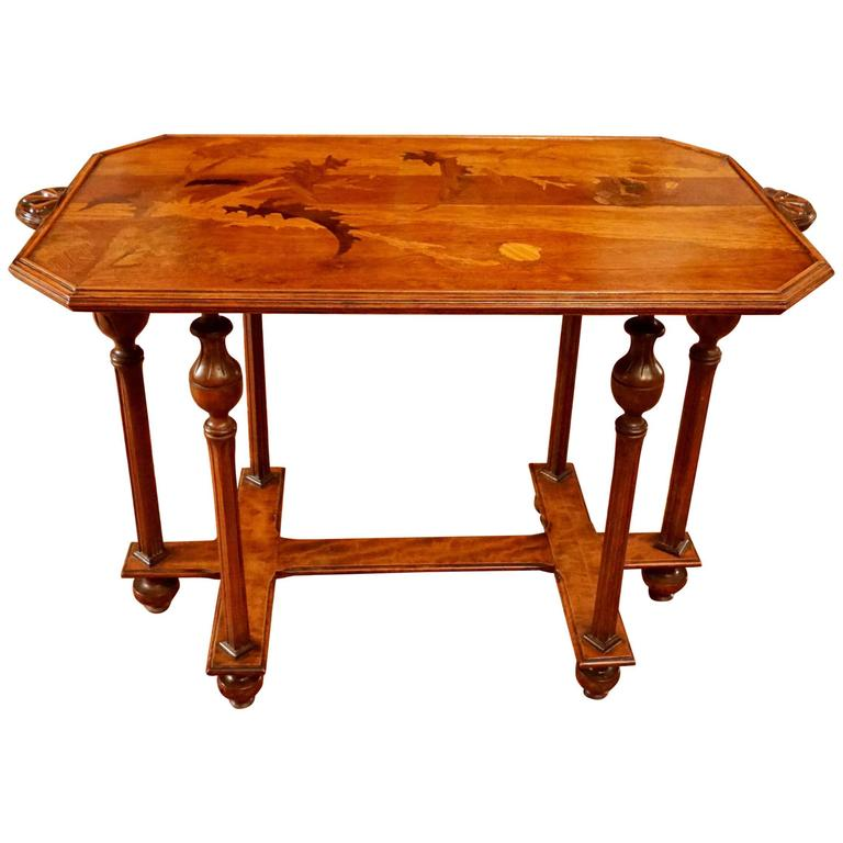 Emile galle cross of lorraine marquetry side table circa