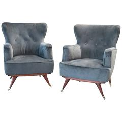 Two Velvet Ico Parisi Armchairs, Italy, 1955-1958