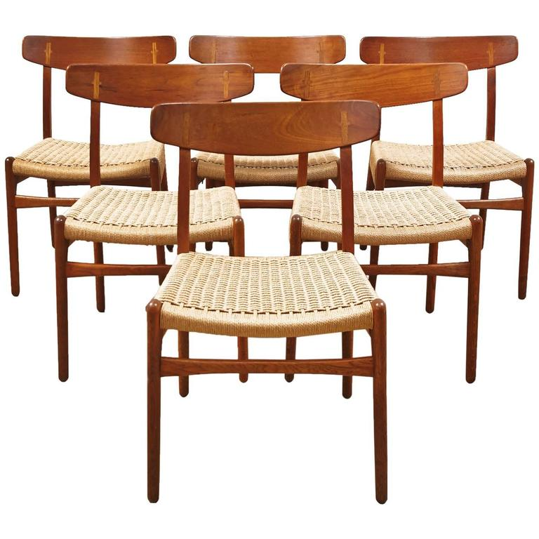 Set Of Six CH 23 Hans Wagner Dining Chairs For Carl Hansen And Son 1