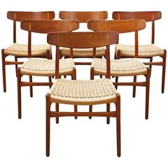 Set of Six CH-23 Hans Wagner Dining Chairs for Carl Hansen and Son