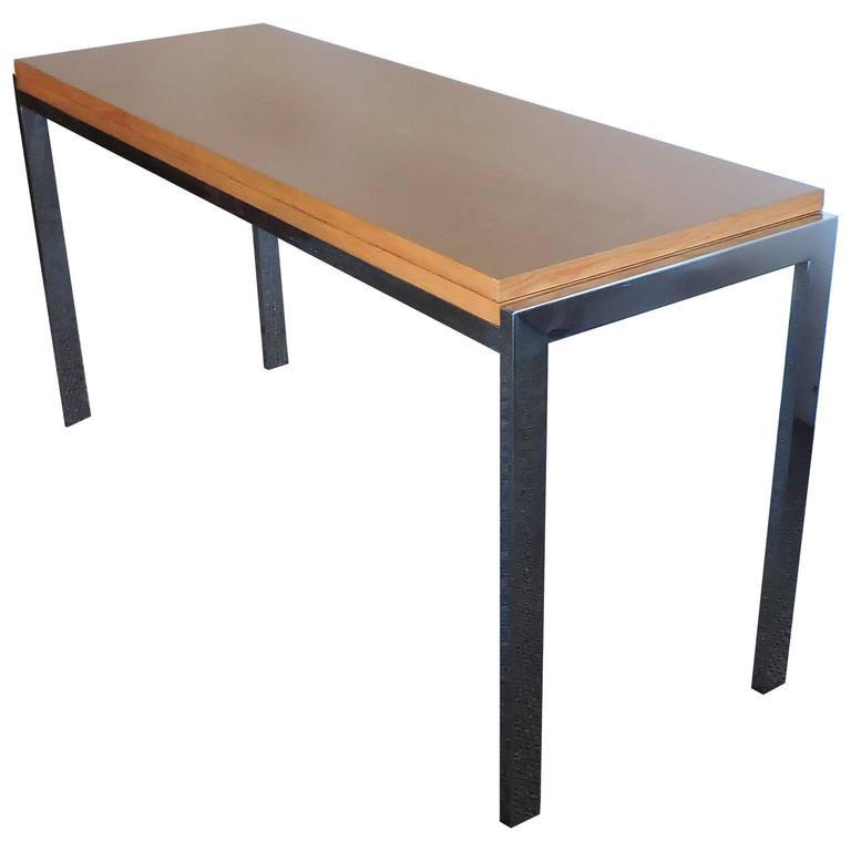 Mid-Century Modern Wilhelm Renz Flip-Top Chrome and Oak Console Dining Table
