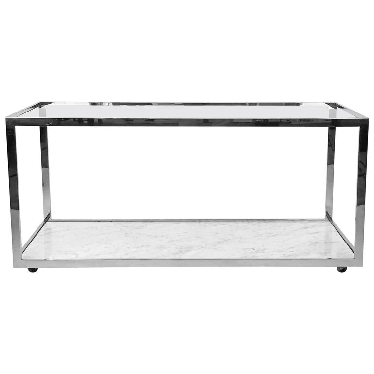 Console Table Polished Chrome Glass and Marble 1