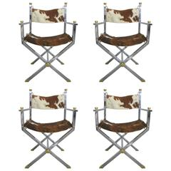 Four Cowhide Directors Chairs in the Style of Maison Jansen