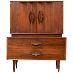Albert Parvin Style Sculptural Diamond Pull Walnut Gentlemen's Chest Dresser
