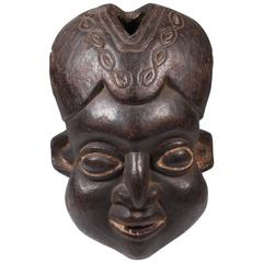 Expressive Cameroon Bamun Helmet Mask, circa 1930s-1940s