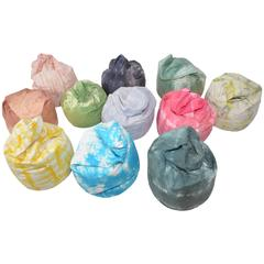 Set of 11 Indian Vintage Tye and Dye Beanbags