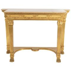 Genovese Giltwood Console with Sand coloured Marble Top, Italy, 1890