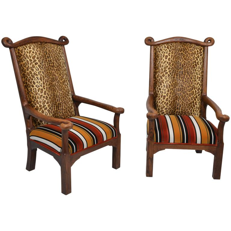 Pair of Arts & Crafts Oak Armchairs in the Style of Sir Edwin Lutyers