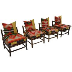 Set of Four Vintage Indian American Style Easy Chairs