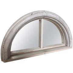 Vintage Antique Architectural Demi Lunar Window Frame Mirror