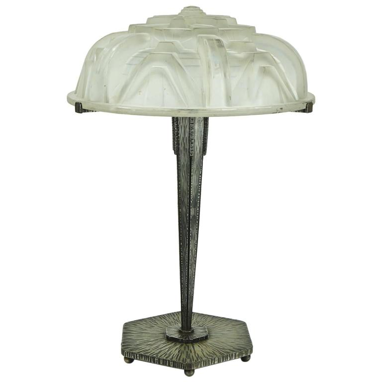 Large Art Deco Muller Freres Table Lamp with Geometric Motifs Design