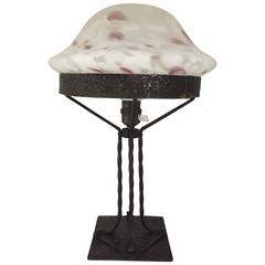 1910 Swedish Art Nouveau/Jugend Iron and Glass Table Lamp
