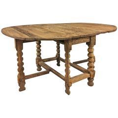 Swedish Oval Pine Wood Gateleg Table, 18th Century