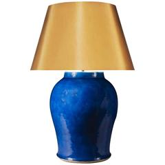 Large Monochrome Blue Chinese Vase as a Lamp