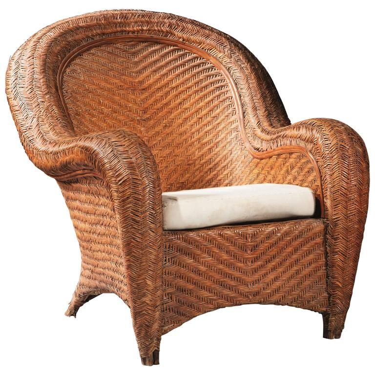 Impressive Oversized Wicker Armchair For Sale
