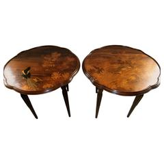 Stunning Art Nouveau Pair of Marquetry Tables Signed by Gallé
