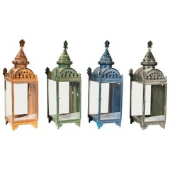 Set of Four Painted Tole and Glass Wall Lanterns