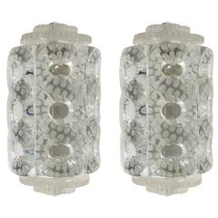 "Lalique Pair of ""Seville"" Crystal Sconces"